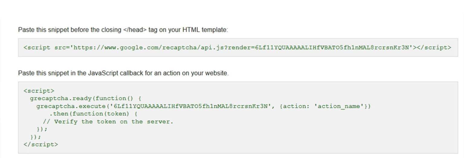 وارد کردن کدهای گوگل ریکپچا در قالب سایت